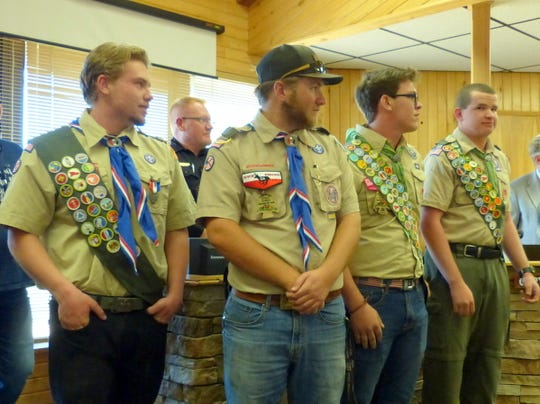 Four in Troop 59 in Ruidoso attained Eagle Scout designation this year. They are from left Alex Demiter, Wesley Shaver, Adam Lenzo and Trevor Stokes.