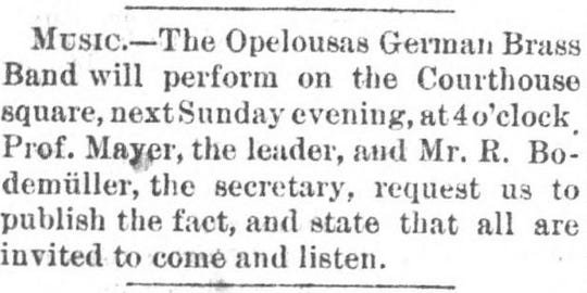 Advertisement for the German Brass Band in the Opelousas Journal on October 9, 1874.