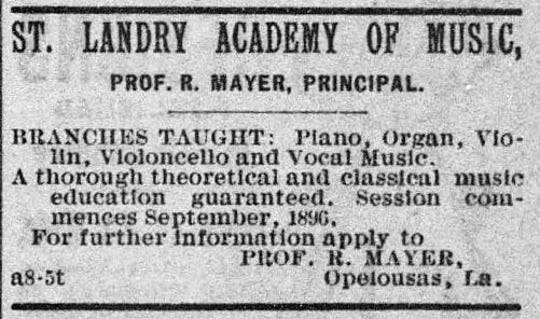 1896 Advertisement for St. Landry Academy of Music