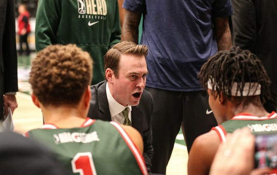 The Wisconsin Herd's head coach Chase Buford talks to his team during a time out during their basketball game against the Capitol City Go-Go's Wednesday, November 13, 2019 in Oshkosh, Wis. The Herd won the game 123-113. Doug Raflik/USA TODAY NETWORK-Wisconsin