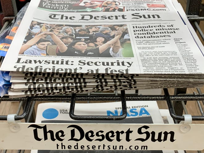 Single copies of The Desert Sun are on sale at Ralphs in Palm Springs.