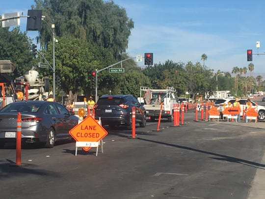 Traffic backs up on northbound Indian Canyon Drive at Alejo Road in Palm Springs on Thursday, Nov. 14, 2019 as part of a conversation project. The road is being converted to a two-way street and paving is scheduled to last all week on Indian Canyon between Alejo and Camino Parocela.