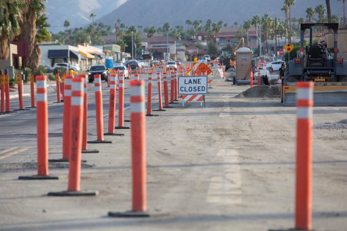 Businesses remain open as construction on San Pablo Avenue in Palm Desert continues on November 14, 2019. Phase one of the street's transformation to a city center, between Highway 111 and Fred Waring Drive, is expected to be completed in May 2020.