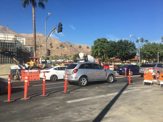 Traffic backs up on northbound Indian Canyon Drive at Alejo Road in Palm Springs on Thursday, Nov. 14, 2019. Construction is related to a project that will convert Indian Canyon to a two-way road. Work will last through 2019.