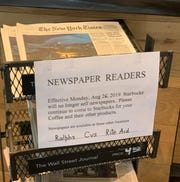 The Starbucks location at Sunrise Way and Ramon Road in Palm Springs was letting people know in August that they'd need to get their papers elsewhere in the future.