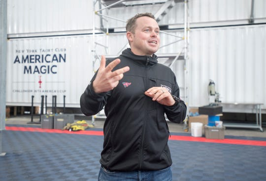 Tyson Lamond, boat captain of the America's Cup team called American Magic, talks Thursday about being a tenant at the Port of Pensacola.