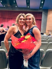 Mackenzie Christie poses for a photo with her mother, Tasha Christie, on the night of the Miss Hanover Area Pageant at New Oxford High School in October.