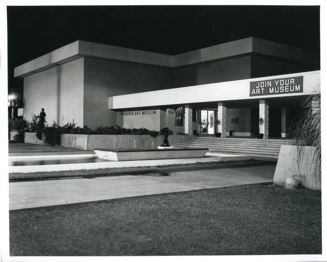 The Phoenix Art Museum at night, circa 1965.