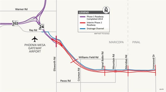 ADOT's map of the SR 24 extension in southeast Mesa. Purple is the existing freeway and red is the five-mile extension.