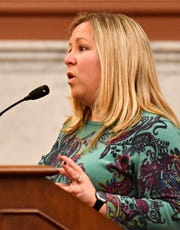 Rep. Kate Klunk discusses concerns as York County Commissioners meet with state lawmakers and poll workers to discuss last weeks election as well as  address necessary improvements needed for future elections, at the York County Administrative Center in York City, Thursday, Nov. 14, 2019. Dawn J. Sagert photo