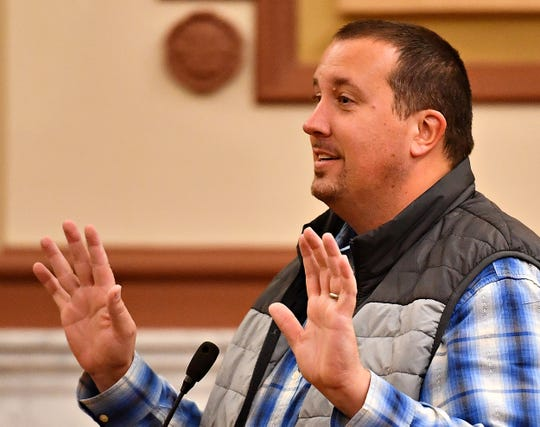 State Rep. Seth Grove discusses concerns as the York County Board of Commissioners meets with state lawmakers and poll workers to discuss last week's election and address necessary improvements needed for future elections, at the York County Administrative Center in York City, Thursday, Nov. 14, 2019. Dawn J. Sagert photo