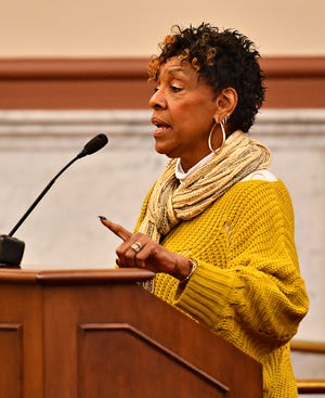Rep. Carol Hill-Evans discusses concerns as York County Commissioners meet with state lawmakers and poll workers to discuss last weeks election as well as  address necessary improvements needed for future elections, at the York County Administrative Center in York City, Thursday, Nov. 14, 2019. Dawn J. Sagert photo