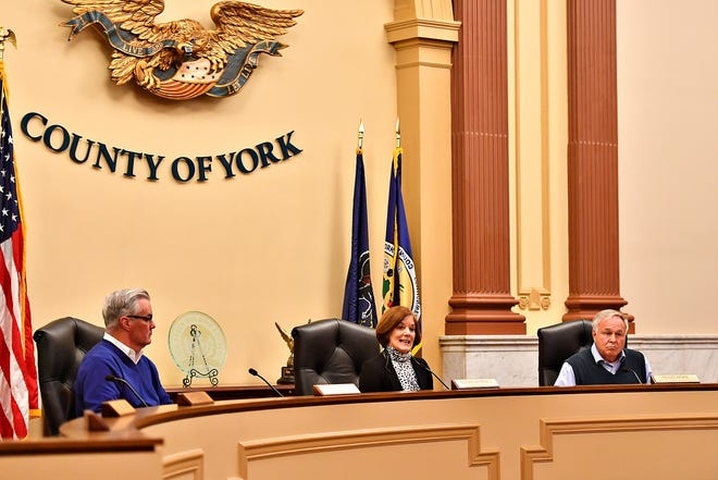 From left, York County Commissioners Chris Reilly, Susan Byrnes and Doug Hoke meet with state lawmakers and poll workers to discuss last weeks election as well as  address necessary improvements needed for future elections, at the York County Administrative Center in York City, Thursday, Nov. 14, 2019. Dawn J. Sagert photo
