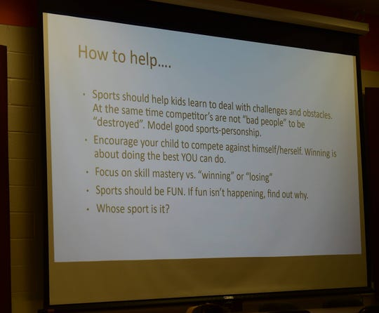A powerpoint presentation displays ways to help student-athlete cope with stress at York Suburban Middle School on Wednesday, Nov. 13.