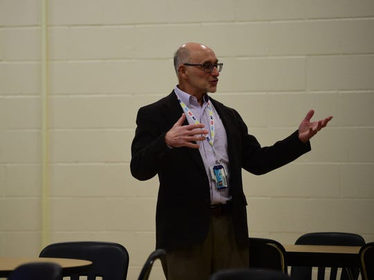 Edward Briercheck, a psychologist with WellSpan Philhaven Behavioral Health, talks with parents about mental health in youth and high school athletics  at York Suburban Middle School on Wednesday, Nov. 13.