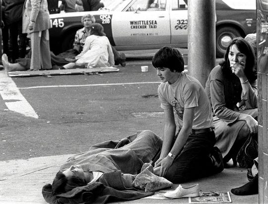 Victims lay scattered in front of the Club Cal Neva after Priscilla Ford went on a rampage Thanksgiving day, 1980.
