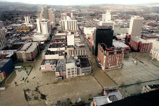 Flooded downtown Reno, Nevada is seen in this aerial photograph taken from an Army National Guard helicopter Thursday afternoon, Jan. 2, 1997. Heavy rains and flooding pounded the region, driving hundreds of people from their homes.