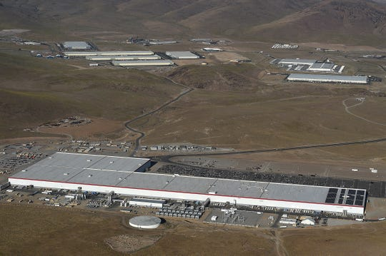 The Tesla Gigafactory 1 is seen at the Tahoe Reno Industrial Center just east of Reno on Aug. 24, 2019.