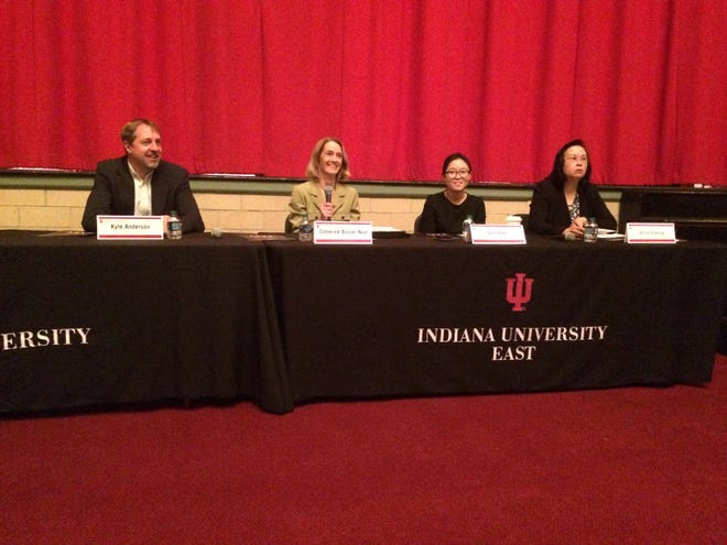 Indiana University Business Outlook Forum panelists were Kyle Anderson (from left), Catherine Bonser-Neal, Sun Yoon and Oi Lin Cheung.