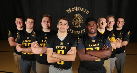 McQuaid's offensive and defensive lines has been a big part of the team's success.  From left are Aiden Kotsch, Nick LaRocco, Quinn Bergeron, Ted Shanahan, Andrin Wilson, Jordan Brongo, Dave DiMarco and Carl Luther.