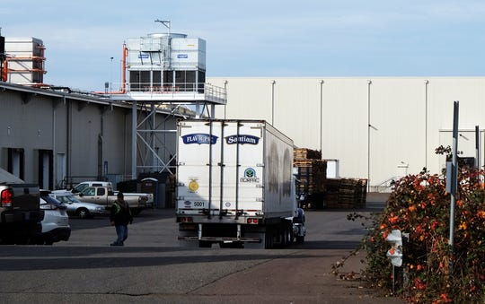 A truck in front of the NORPAC Packing Plant #8 in Salem. Layoffs were announced at the plant Nov. 13.