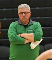 Chesapeake College men's basketball coach Andrew Sachs watches practice on Tuesday, Nov. 12, 2019.