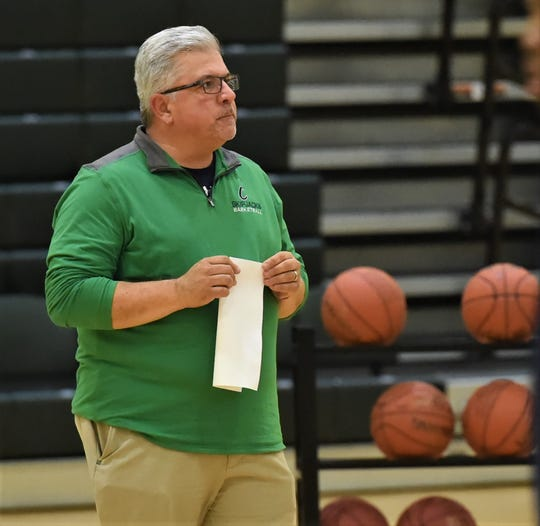 Chesapeake College men's basketball coach Andrew Sachs calls a play during practice on Tuesday, Nov. 12, 2019.
