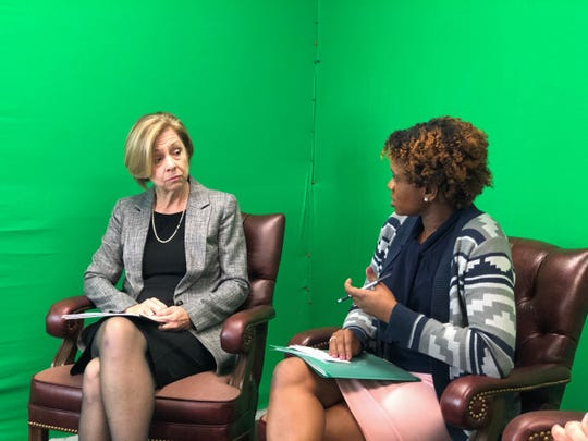 In a live broadcast on Friday, Nov. 1, Superintendent of Wicomico County public schools Donna Hanlin (left) was interviewed by Mivida Domercant (right) of Wozo Marketing Group.