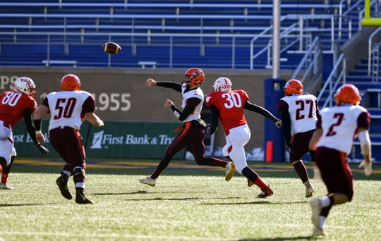 Canistota-Freeman quarterback Trey Ortman throws a pass  during the Class 9A state football finals against Britton-Hecla on Thursday, Nov. 14, at the Dana J. Dykehouse Stadium in Brookings.