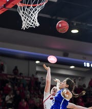 USD's Monica Arens (11) ties the score 82-82 sending the game into overtime on Wednesday, Nov. 13,  2019 at Sanford Coyote Sports Center in Vermillion.