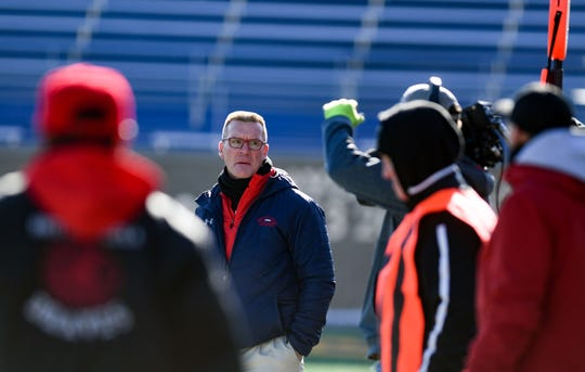 Britton-Hecla football coach Pat Renner stands on the sidelines during the Class 9A state football finals on Thursday, Nov. 14, at the Dana J. Dykehouse Stadium in Brookings.