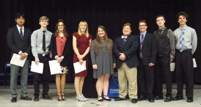 Members of Cumberland Christian School's National Honor Society took the stage during an induction ceremony on Nov. 7.