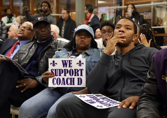 Former NFL running back Ray Rice, along with his mother Janet Rice, were among the supporters of reassigned New Rochelle football head coach Lou DiRienzo that jammed a room to hear superintendent Laura Feijoo speak and voice their opinions Nov. 14, 2019 in New Rochelle.