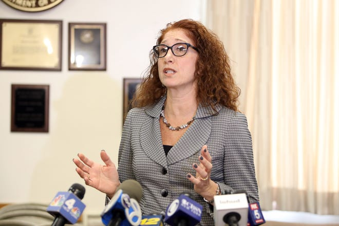 Schools Superintendent Laura Feijoo gives a news conference about the reassignment of New Rochelle head football coach Lou DiRienzo at the district office in New Rochelle Nov. 14, 2019.