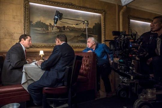 Martin Scorsese directs Robert De Niro and Joe Pesci in a scene from The Irishman. The film shot scenes in da Nina restaurant in Suffern.