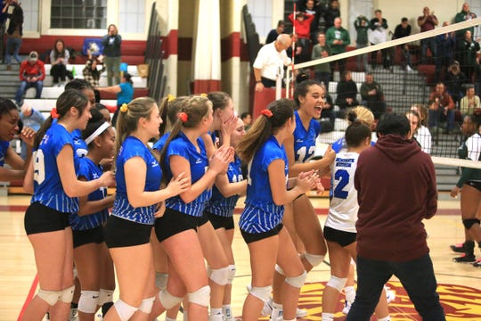 Hendrick Hudson's girls volleyball team celebrate their win over Cornwall in the Class A Girls Volleyball Regional Semifinal in Kingston on November 13, 2019.