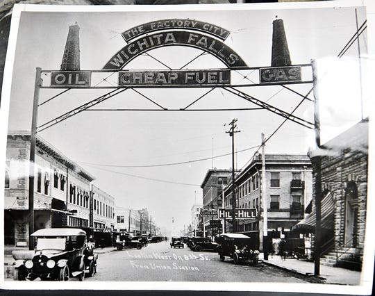 A historic photo of early Wichita Falls during the oil boom. Picture was taken looking west on Eighth Street from near the railroad tracks.