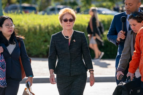 Former U.S. ambassador to Ukraine Marie Yovanovitch arrives on Capitol Hill on Oct. 11 to testify before congressional lawmakers behind closed doors.