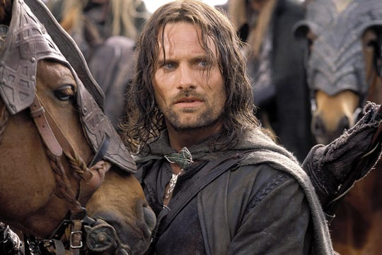 "A still photo of Aragorn (Viggo Mortensen) in ""The Lord of the Rings: The Two Towers""."