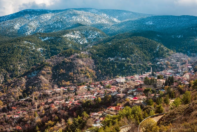 The Troodos mountains dominate the western half of Cyprus.