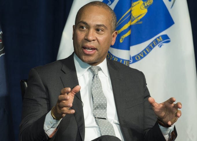 Deval Patrick, who made history after becoming Massachusetts' first black governor, threw his name into the 2020 Democratic presidential election Nov. 14, 2019.  Seen here former Massachusetts Governor Deval Patrick speaks on a panel on leadership during times of crisis at the Newseum in Washington, DC, Feb. 22, 2016.