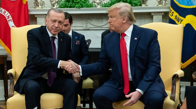 President Donald Trump meets with Turkish President Recep Tayyip Erdogan in the Oval Office of the White House,  Nov. 13, 2019, in Washington.