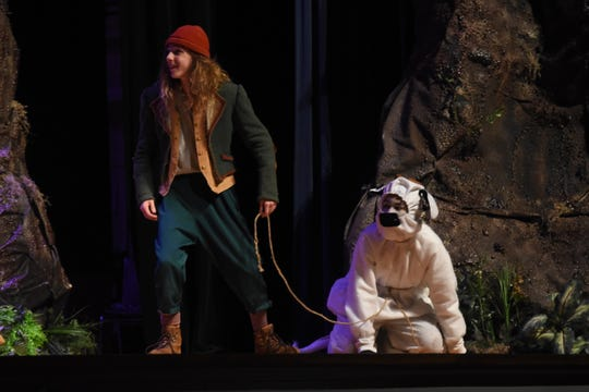 """Joseph Jobe (left) stars as Jack and Edward Groves as Milky White in  Bolton Conservatory for the Performing & Visual Arts presentation of """"Into the Woods."""""""