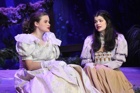 """Lily Mikulas (left) stars as Cinderella and Abigail Rivers as the Baker's Wife in the Bolton Conservatory for the Performing & Visual Arts' presentation of """"Into the Woods."""""""