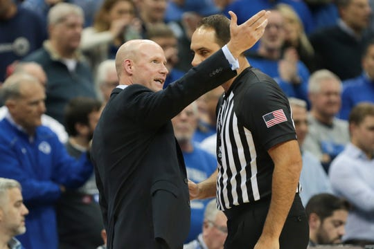 Nov 14, 2019; Newark, NJ, USA; Seton Hall Pirates head coach Kevin Willard talks with an official during the first half against the Michigan State Spartans at Prudential Center. Mandatory Credit: Vincent Carchietta-USA TODAY Sports