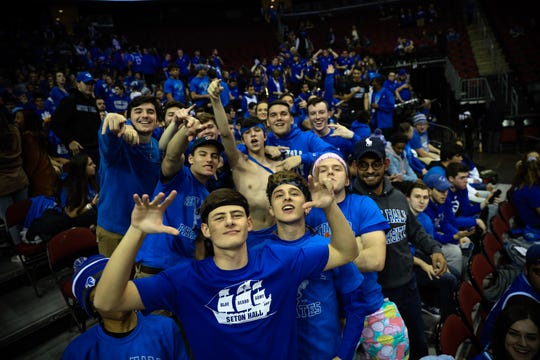 Seton Hall student fans before Thursdays game against No. 3 Michigan State at the Prudential Center