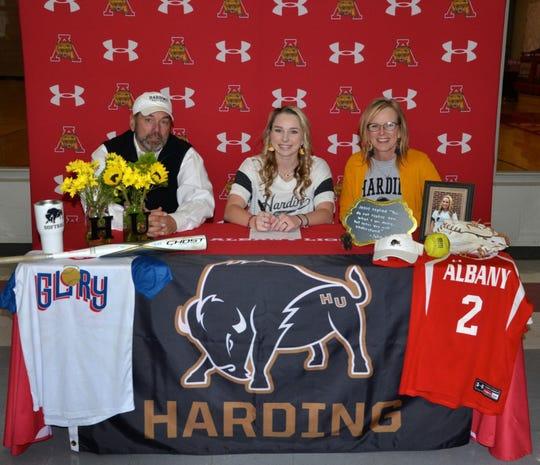 Albany senior Aubrey Moon signed with Harding University in Searcy, Arkansas, at a ceremony Thursday, Nov. 14, 2019, at Albany High School.