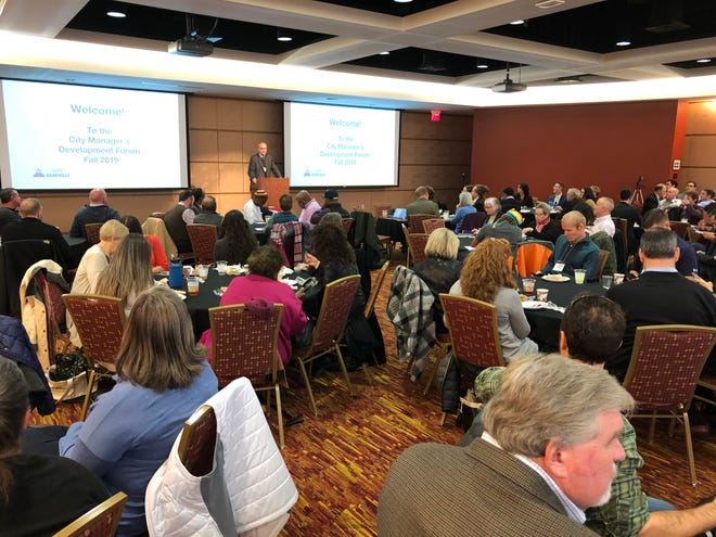 A full house turned out Nov. 15 for Asheville's City Manager's Development Forum. Economic Development Director Sam Powers spoke to the crowd first.