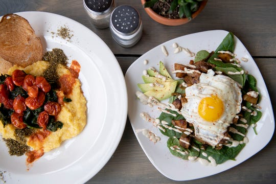 The Sunflower Diner in West Asheville serves breakfast all day. Two options are the North African Grits and Greens bowl and the Sunflower Skillet.