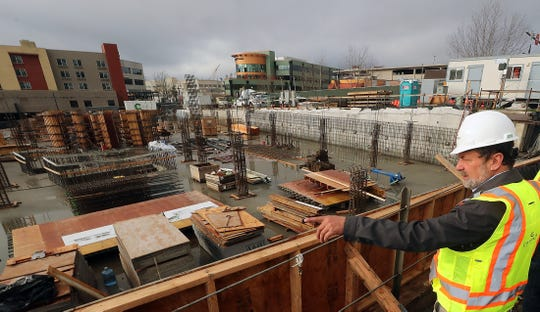 Sound West Group's Mike Brown talks about the construction of the Marina Square site in downtown Bremerton on Friday, November 15, 2019.